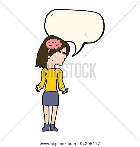 cartoon clever woman shrugging shoulders with speech bubble