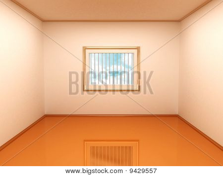 Empty Room With Bars On The Window