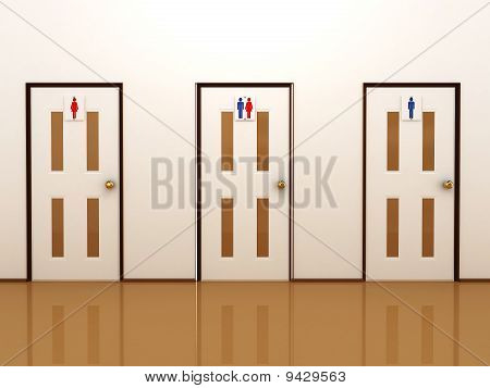 Three Doors With Signs For Male, Female And Total