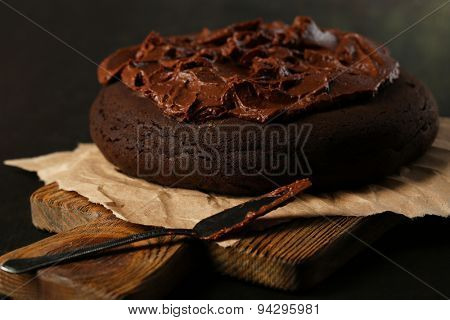 Chocolate cake on table, close-up