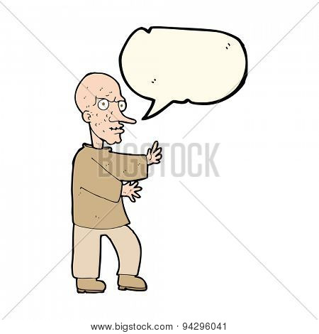 cartoon mean looking man with speech bubble