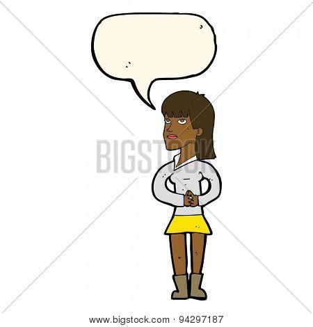 cartoon woman waiting with speech bubble