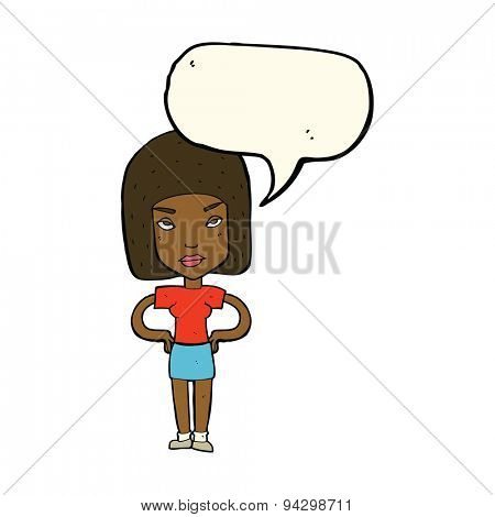 cartoon annoyed woman with speech bubble