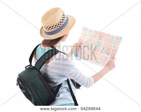 Traveler with map isolated on white