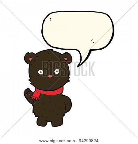 cartoon waving black bear cub with speech bubble
