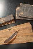 foto of vedic  - Ancient Treatise with bird feather - JPG