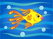 stock photo of goldfish  - goldfish swimming in the sea with bubbles around - JPG