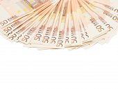foto of fifties  - Multiple fifty euro bank notes arranged like a fan - JPG
