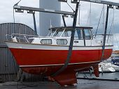 foto of shipyard  - Yacht in a shipyard for repair and periodic maintenance - JPG