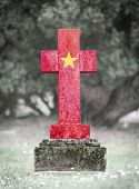 image of cemetery  - Old weathered gravestone in the cemetery  - JPG