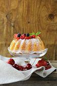 image of sponge-cake  - festive dessert round sponge cake homemade pastries - JPG