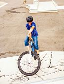 pic of dirt-bike  - boy riding his bike at the skatepark  - JPG