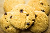 picture of baked raisin cookies  - Shortbread cookies with raisins a few pieces on the table - JPG