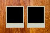 image of polaroid  - Polaroid picture frame paste on wood texture - JPG