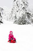 picture of sled  - sledding little girl - JPG