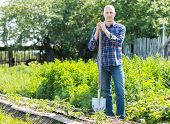 stock photo of spade  - man with  spade in  garden among beds - JPG