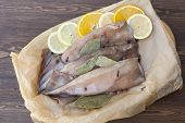 picture of squid  - Fresh squid carcass with spices on paper on the wooden table - JPG