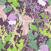 picture of jellyfish  - Vintage blue seamless sea summer background with algae - JPG