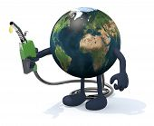 pic of fuel economy  - planet earth with arms legs and fuel pump on hand 3d illustration - JPG
