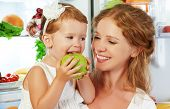 pic of refrigerator  - happy family mother and child baby daughter around the refrigerator with healthy food fruits and vegetables - JPG