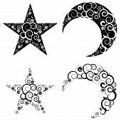image of crescent  - Decorative crescent moon and star made with swirls - JPG
