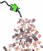 stock photo of fuel economy  - fuel nozzle with yuan banknotes 3d illustration - JPG