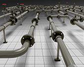 stock photo of pipeline  - Black pipeline construction - JPG