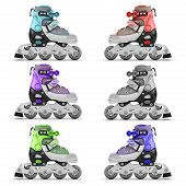 pic of roller-skating  - Set of roller skates different color isolated on white background - JPG