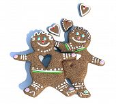 stock photo of ginger bread  - ginger biscuits figure man and woman in love 3d illustration - JPG