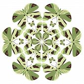stock photo of decoupage  - Round vector pattern with green butterflies - JPG