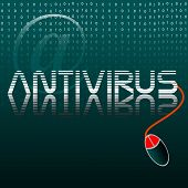 picture of antivirus  - Abstract colorful background with a computer mouse connected to the word antivirus - JPG