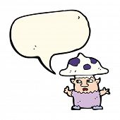 stock photo of fairy-mushroom  - cartoon little mushroom man with speech bubble - JPG