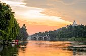 foto of torino  - Turin (Torino) river Po and hills at sunrise ** Note: Visible grain at 100%, best at smaller sizes - JPG