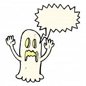 stock photo of spooky  - cartoon spooky ghost with speech bubble - JPG