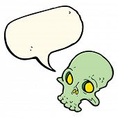 image of spooky  - cartoon spooky skull with speech bubble - JPG