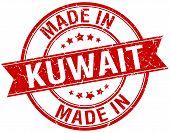 pic of kuwait  - made in Kuwait red round vintage stamp - JPG