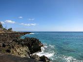 image of shoreline  - Lava Rocky Shoreline on Waianae Coastline with Pacific Ocean on Oahu Hawaii - JPG