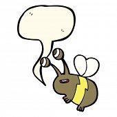 pic of bee cartoon  - cartoon happy bee with speech bubble - JPG