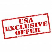 picture of exclusive  - Grunge rubber stamp with text USA Exclusive Offer - JPG