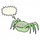 stock photo of spooky  - cartoon spooky spider with speech bubble - JPG