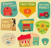 picture of farm  - Farm Stickers Set in Flat and Retro style - JPG
