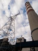 stock photo of chimney  - tall concrete chimney and high - JPG