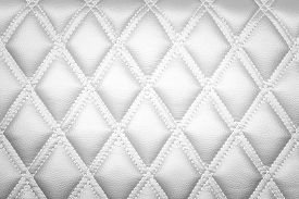 pic of quadrangles  - Leather diamond stripes brown color texture background White color - JPG
