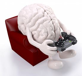 stock photo of controller  - human brain on armchair with arms legs and game controller on hands that is playing - JPG