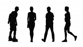 pic of ordinary woman  - silhouettes of ordinary young adult men and women walking outdoor summertime - JPG