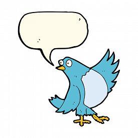 pic of bluebird  - cartoon dancing bluebird with speech bubble - JPG