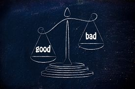 stock photo of pro-life  - pros wins over cons metaphor of balance measuring the good and the bad - JPG
