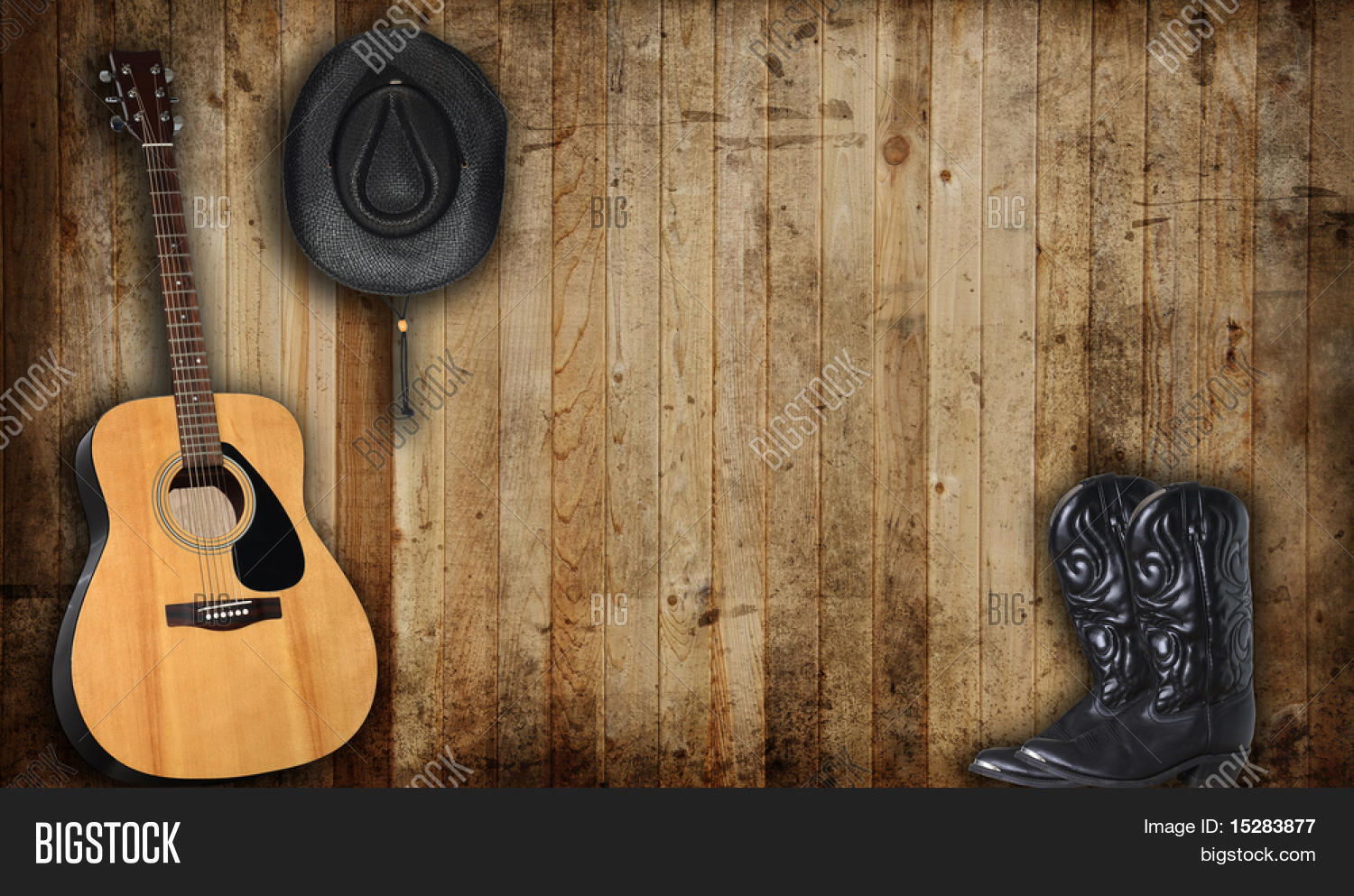 Cowboy Hat Boots Guitar Against Image Amp Photo Bigstock
