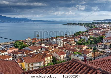 Panoramic view of Nafpaktos town and cable bridge between Rio and Antirrio, Western Greece