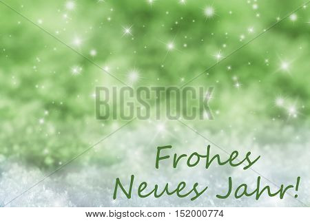 German Text Frohes Neues Jahr Means Happy New Year. Green Sparkling Christmas Background Or Texture With Snow. Copy Space For Your Text Here